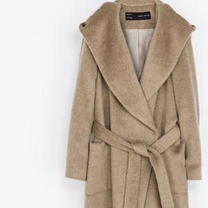 Zara camel wrap coat.